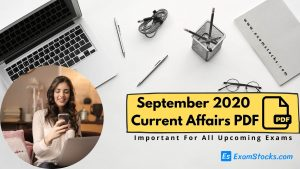 300+ Best September 2020 Current Affairs PDF Bilingual