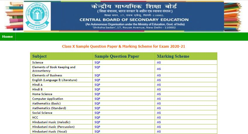 CBSE Class 10 Sample Papers PDF 2021 For All Subjects