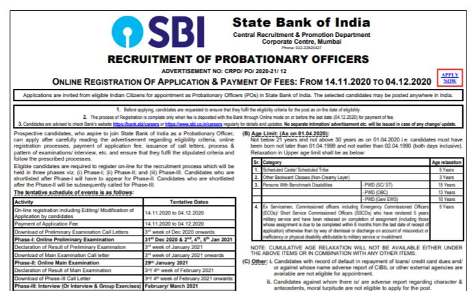 SBI PO Recruitment 2020 Apply Online For 2000 Vacancies