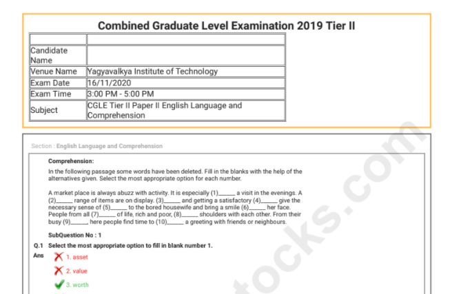SSC CGL Tier 2 Question Paper 2019 PDF