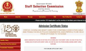SSC Delhi Police Constable Admit Card 2020 Released Check Here