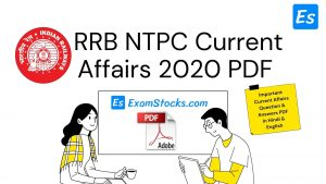 RRB NTPC Current Affairs 2020 PDF In Hindi & English