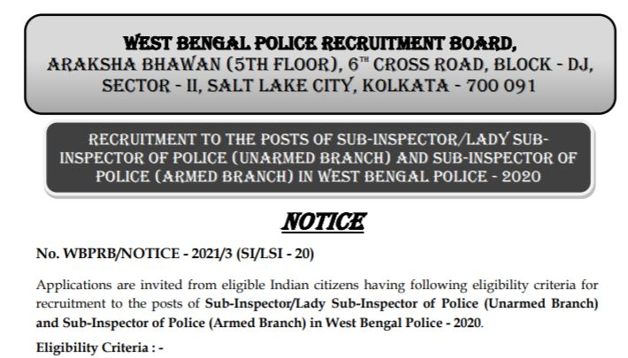 WB Police SI Recruitment 2021 Apply Online for 1088 Posts