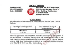 Central Railway Apprentice Recruitment 2021 Apply Online For 2532 Posts