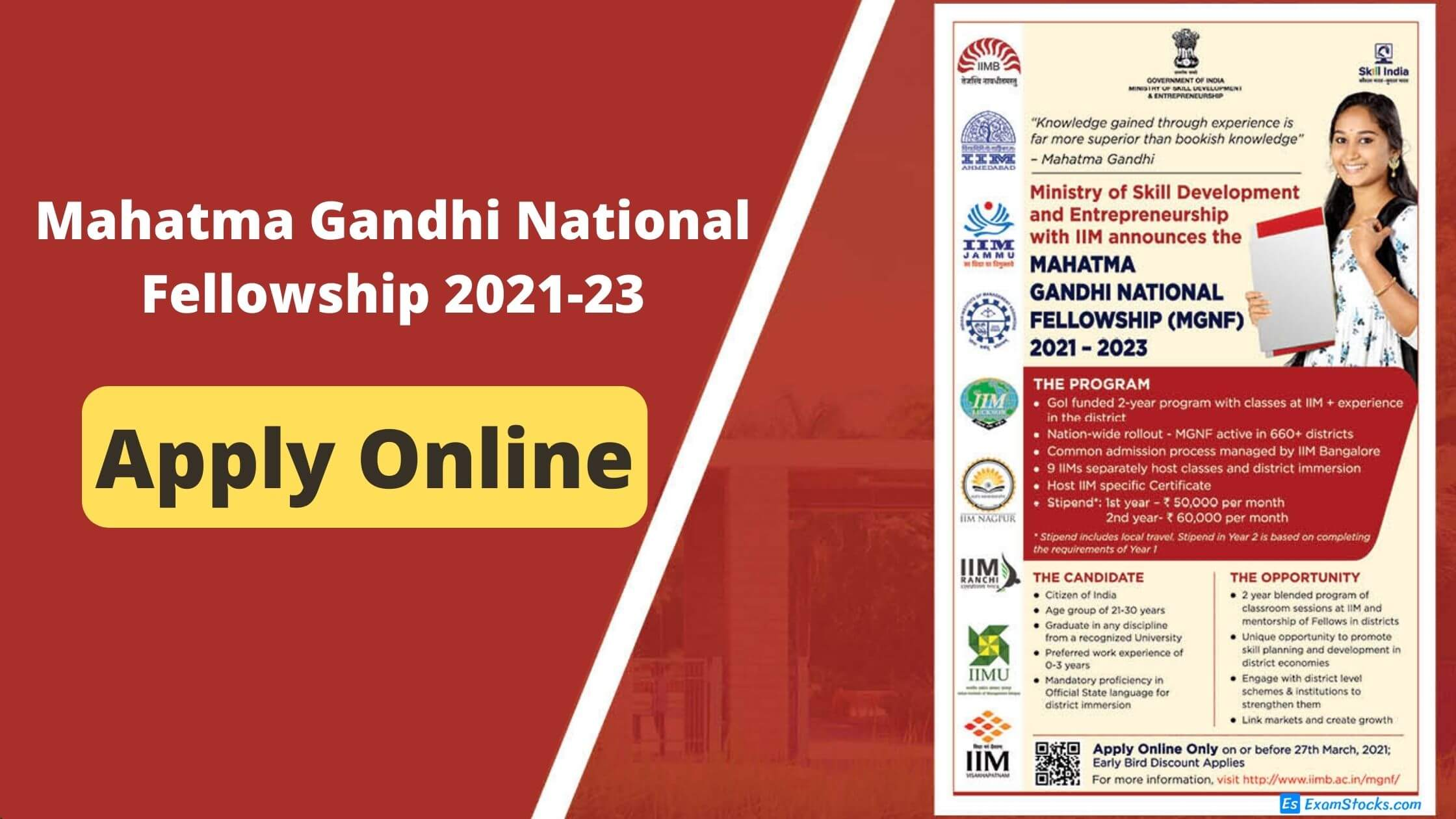 Mahatma Gandhi National Fellowship 2021-23 For Graduates Apply Online