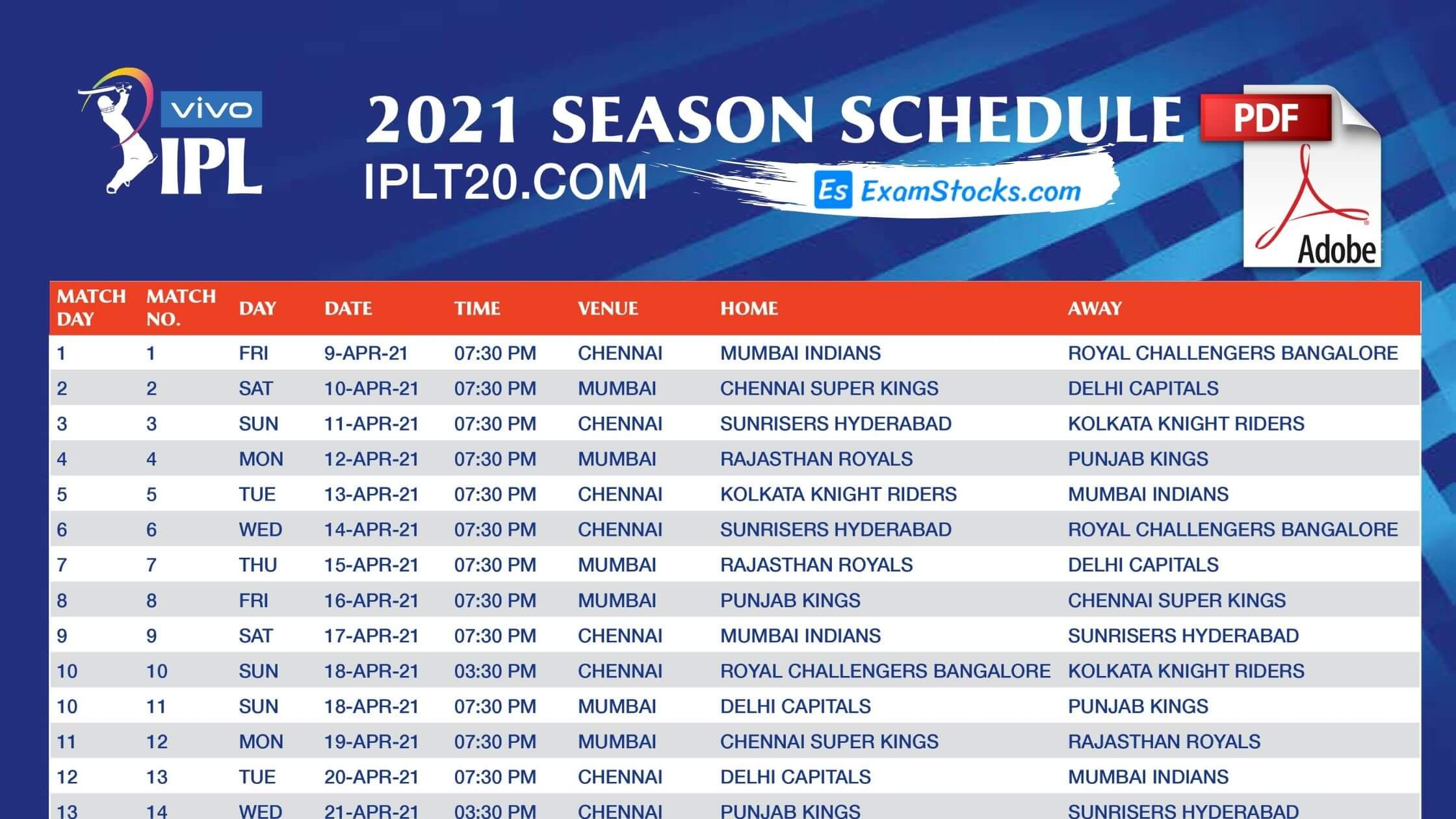 IPL 2021 Schedule PDF Complete Timetable & Match Timings