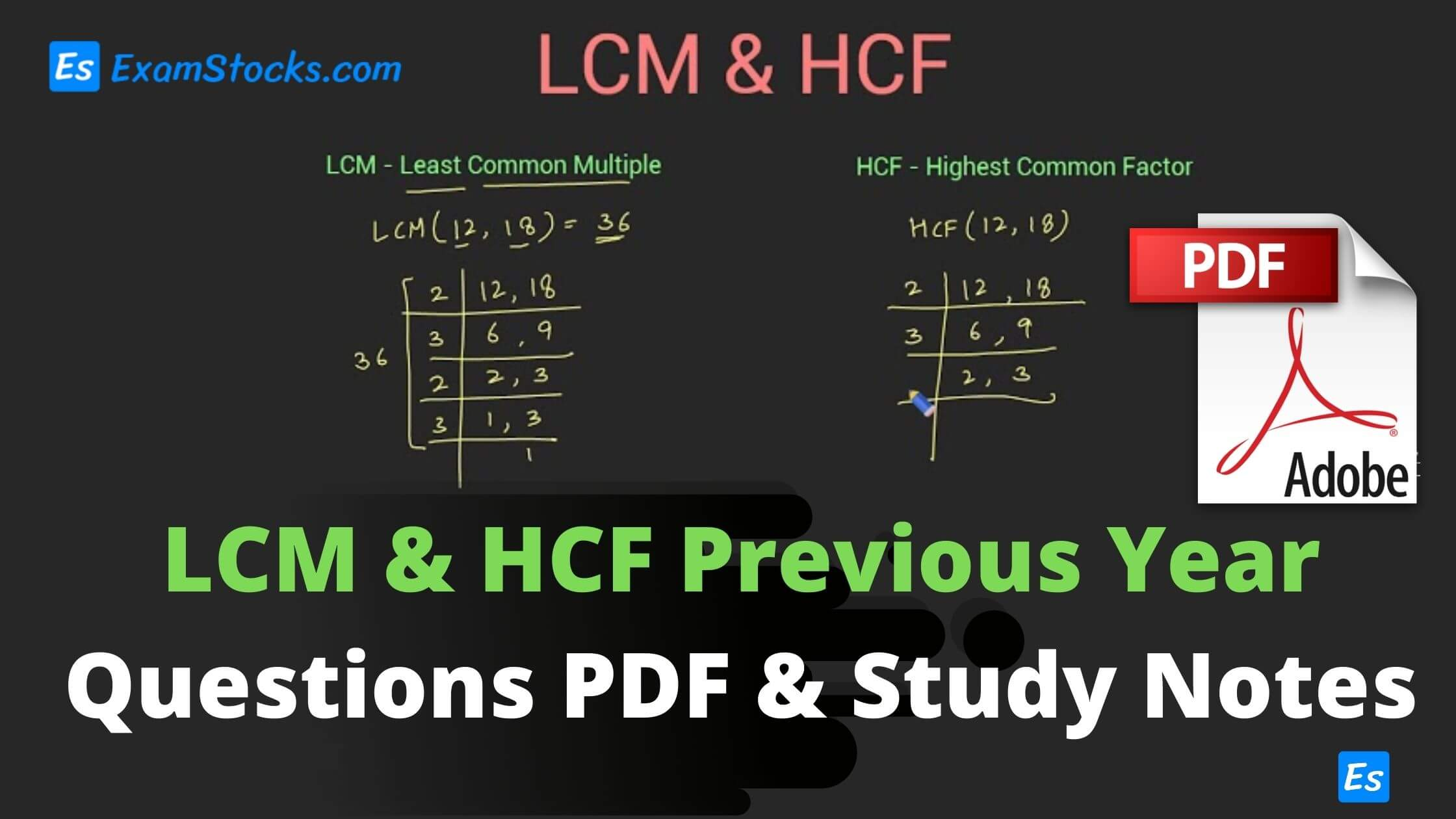 LCM & HCF Previous Year Questions PDF & Study Notes