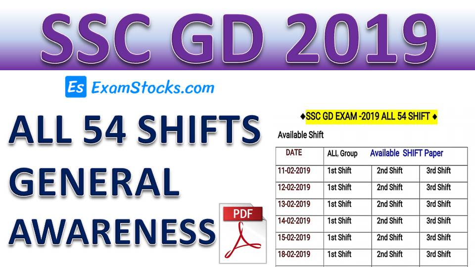 SSC GD Constable 2019 All Shift GK PDF