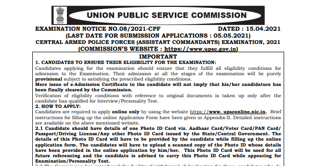 UPSC CAPF AC Recruitment 2021 Notification Released Apply Online