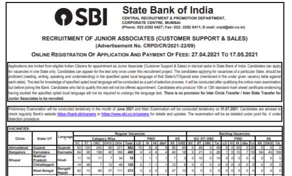 SBI Clerk Recruitment 2021 Apply Online Here