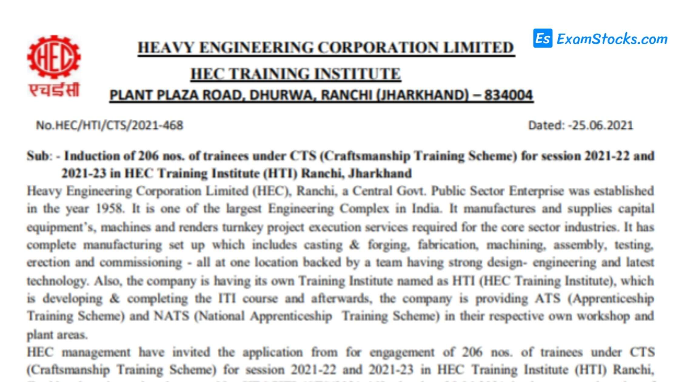 HEC Trainee Recruitment 2021 Apply For 206 Trainees Post