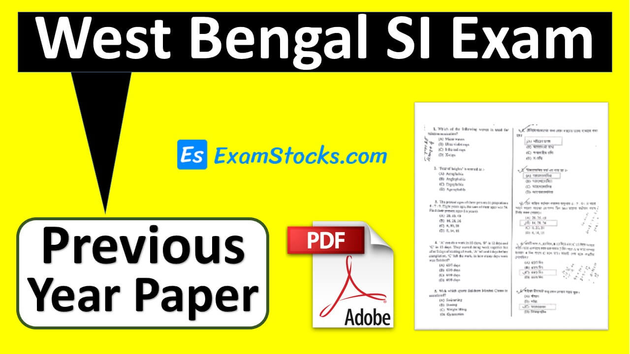 west bengal police si previous year question paper pdf